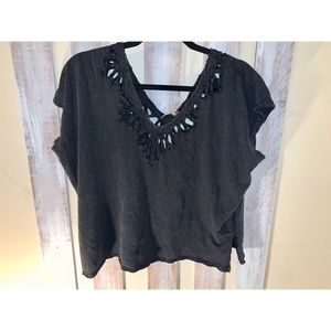 Free People Cut Out Faded Black T-Shirt
